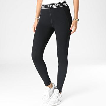 Superdry - Leggings Femme Corporate Logo Tape Noir