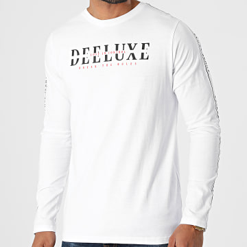 Deeluxe - Tee Shirt Manches Longues A Bandes Ralfson Blanc
