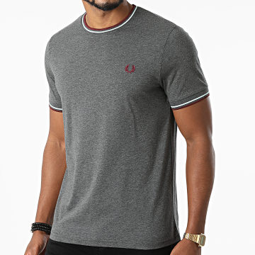 Fred Perry - Tee Shirt Twin Tipped M1588 Gris Anthracite Chiné