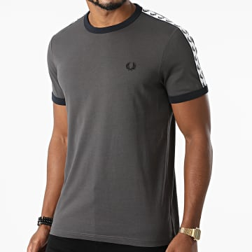 Fred Perry - Tee Shirt A Bandes Taped Ringer M6347 Gris Anthracite