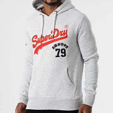 Superdry - Sweat Capuche Vintage Logo Source M2011391A Gris Chiné