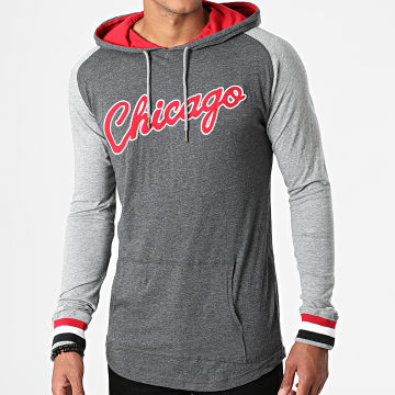Mitchell and Ness - Tee Shirt Manches Longues Capuche Chicago Bulls In The Zone Gris Anthracite