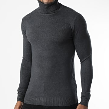 Uniplay - Pull Col Roulé CR-08 Gris Anthracite