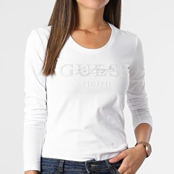 Guess - Tee Shirt Manches Longues Femme Strass W1BI03-J1311 Blanc