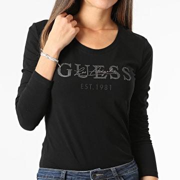 Guess - Tee Shirt Manches Longues Femme Strass W1BI03-J1311 Noir