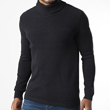 Only And Sons - Pull Col Roulé Bace Bleu Marine