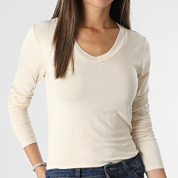 Only - Top Femme Manches Longues Sandy Beige