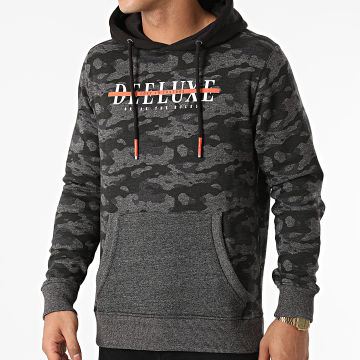 Deeluxe - Sweat Capuche Daik Gris Anthracite Chiné Camouflage