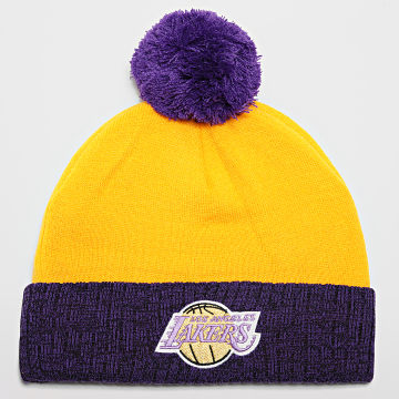 Mitchell and Ness - Bonnet 2 Tone Pom Los Angeles Lakers Jaune
