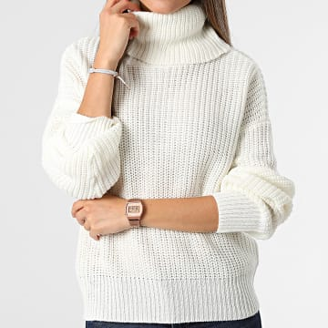 Only - Pull Femme Col Roulé Justy Beige