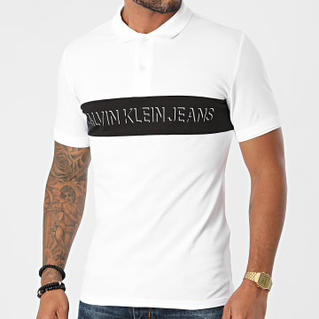 Calvin Klein - Polo Manches Courtes Colorblock Shadow 8636 Ecru
