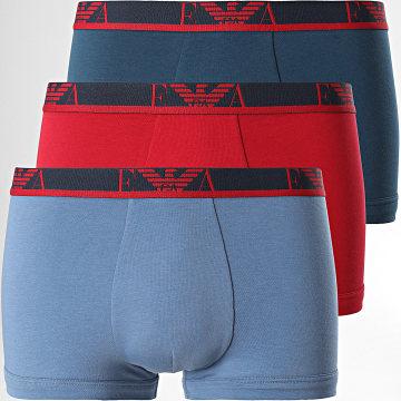 Emporio Armani - Lot De 3 Boxers 111357-1A715 Rouge Bleu Marine Bleu Clair