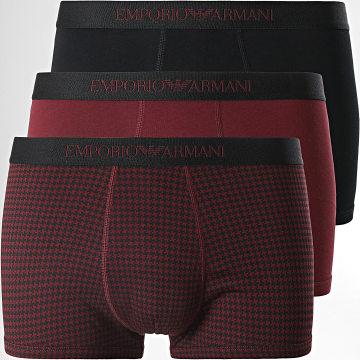 Emporio Armani - Lot De 3 Boxers 111625-1A722 Bordeaux Noir