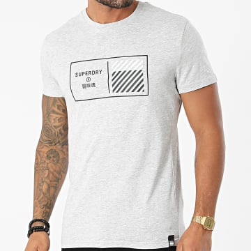 Superdry - Tee Shirt Train Core Graphic MS310944A Gris Chiné
