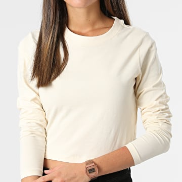 Urban Classics - Tee Shirt Manches Longues Femme Crop TB4535 BeigeNoir