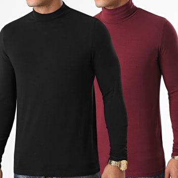 LBO - Lot De 2 Tee Shirts Col Roulé Manches Longues Unis 1438 Noir Bordeaux