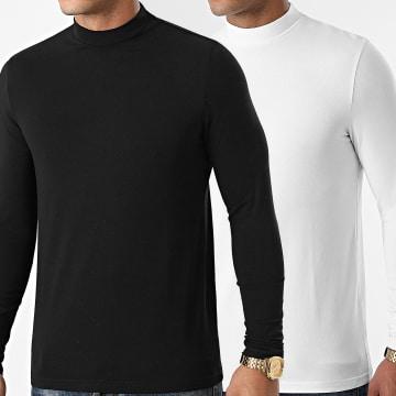 LBO - Lot De 2 Tee Shirts Col Cheminée Manches Longues Unis 1992 Noir Blanc