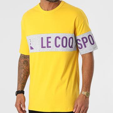 Le Coq Sportif - Tee Shirt Oversize Soprano 2 N1 2121440 Jaune Gris Chiné