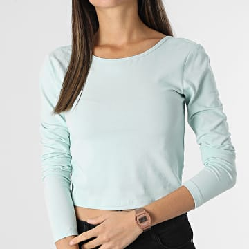 Only - Top Crop Manches Longues Femme Pure Life Turquoise