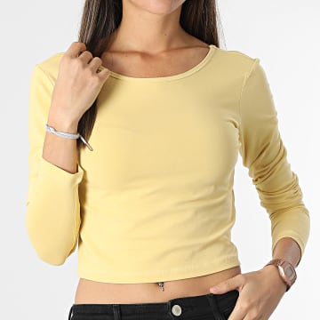 Only - Top Crop Manches Longues Femme Pure Life Jaune