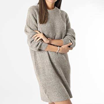 Only - Robe Pull Femme Zolte Taupe Chiné
