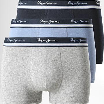 Pepe Jeans - Lot De 3 Boxers Rogan Bleu Gris Chiné