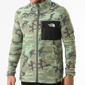 The North Face - Veste Zippée Polaire HS Fleece A55HL Vert Kaki Camouflage
