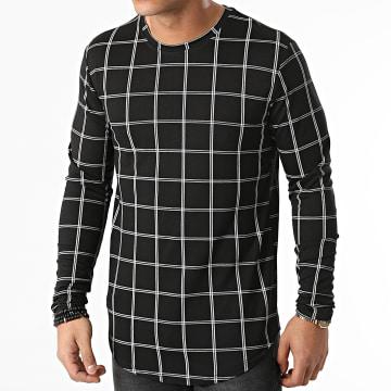 Frilivin - Tee Shirt Manches Longues Oversize A Carreaux 15575 Noir