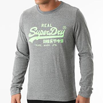 Superdry - Tee Shirt Manches Longues Vintage Logo AC M6010546A Gris Chiné