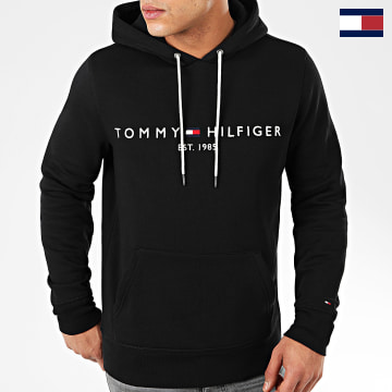 https://laboutiqueofficielle-res.cloudinary.com/image/upload/v1627566657/Marketing/WATERMARK%20svg/2logo_tommy_hilfiger.svg Tommy Hilfiger - Sweat Capuche Core Tommy Logo 0752 Noir