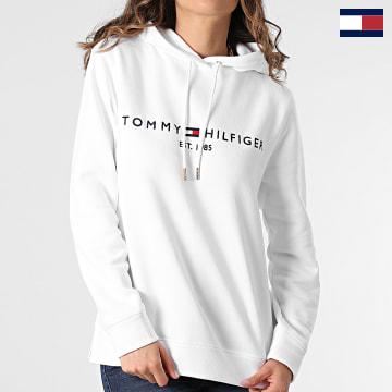 https://laboutiqueofficielle-res.cloudinary.com/image/upload/v1627566657/Marketing/WATERMARK%20svg/2logo_tommy_hilfiger.svg Tommy Hilfiger - Sweat Capuche Femme Heritage 1998 Blanc
