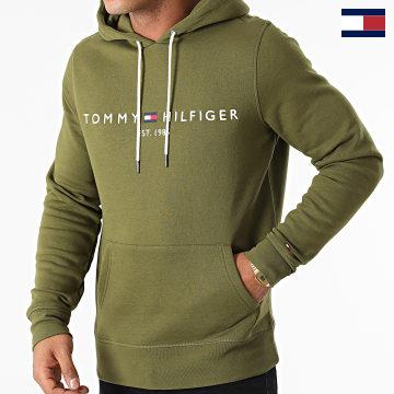 https://laboutiqueofficielle-res.cloudinary.com/image/upload/v1627566657/Marketing/WATERMARK%20svg/2logo_tommy_hilfiger.svg Tommy Hilfiger - Sweat Capuche Logo 1599 Vert Kaki