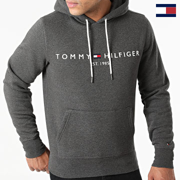 https://laboutiqueofficielle-res.cloudinary.com/image/upload/v1627566657/Marketing/WATERMARK%20svg/2logo_tommy_hilfiger.svg Tommy Hilfiger - Sweat Capuche Logo 1599 Gris Anthracite Chiné