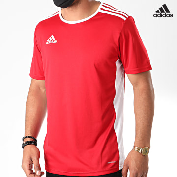 https://laboutiqueofficielle-res.cloudinary.com/image/upload/v1627638668/Desc/Watermark/adidas_performance.svg Adidas Performance - Tee Shirt A Bandes Entrada 18 CF1038 Rouge