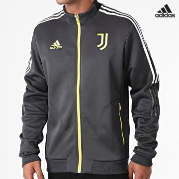 https://laboutiqueofficielle-res.cloudinary.com/image/upload/v1627638668/Desc/Watermark/adidas_performance.svg Adidas Performance - Veste Zippée A Bandes Juventus GR2916 Gris Jaune