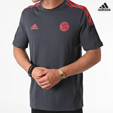 https://laboutiqueofficielle-res.cloudinary.com/image/upload/v1627638668/Desc/Watermark/adidas_performance.svg Adidas Performance - Tee Shirt De Sport A Bandes FC Bayern GR0625 Gris Anthracite Rouge