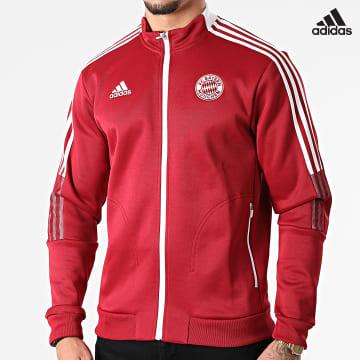 https://laboutiqueofficielle-res.cloudinary.com/image/upload/v1627638668/Desc/Watermark/adidas_performance.svg Adidas Performance - Veste Zippée A Bandes FC Bayern GR0676 Bordeaux