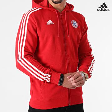 https://laboutiqueofficielle-res.cloudinary.com/image/upload/v1627638668/Desc/Watermark/adidas_performance.svg Adidas Performance - Sweat Zippé Capuche A Bandes FC Bayern GR0690 Rouge