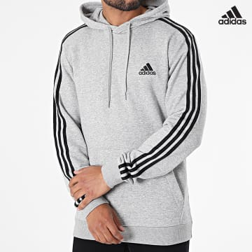 https://laboutiqueofficielle-res.cloudinary.com/image/upload/v1627638668/Desc/Watermark/adidas_performance.svg Adidas Performance - Sweat Capuche A Bandes 3 Stripes GK9080 Gris Chiné