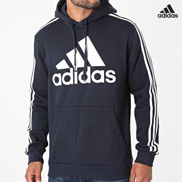 https://laboutiqueofficielle-res.cloudinary.com/image/upload/v1627638668/Desc/Watermark/adidas_performance.svg Adidas Performance - Sweat Capuche A Bandes Big Logo 3 Stripes H14642 Bleu Marine