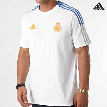 https://laboutiqueofficielle-res.cloudinary.com/image/upload/v1627638668/Desc/Watermark/adidas_performance.svg Adidas Performance - Tee Shirt A Bandes Real Madrid GU9711 Ecru