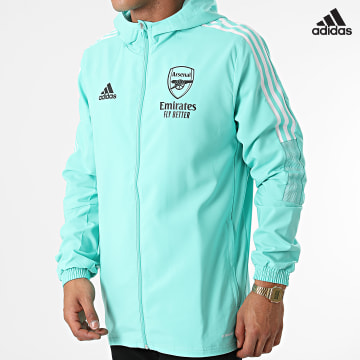https://laboutiqueofficielle-res.cloudinary.com/image/upload/v1627638668/Desc/Watermark/adidas_performance.svg Adidas Performance - Veste Zippée Capuche A Bandes Arsenal FC GR4143 Vert Clair