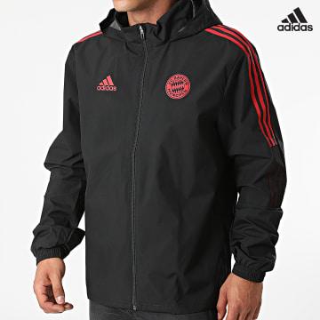 https://laboutiqueofficielle-res.cloudinary.com/image/upload/v1627638668/Desc/Watermark/adidas_performance.svg Adidas Performance - Veste Zippée A Capuche FC Bayern GR0651 Noir