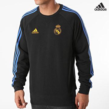 https://laboutiqueofficielle-res.cloudinary.com/image/upload/v1627638668/Desc/Watermark/adidas_performance.svg Adidas Performance - Sweat Crewneck A Bandes Real Madrid GU9706 Noir