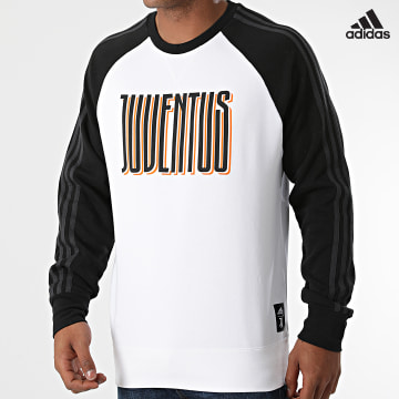 https://laboutiqueofficielle-res.cloudinary.com/image/upload/v1627638668/Desc/Watermark/adidas_performance.svg Adidas Performance - Sweat Crewneck A Bandes Juventus Graphic GR2920 Ecru Noir