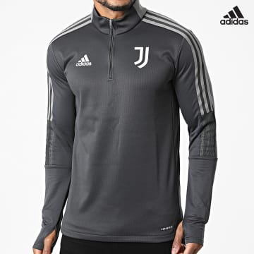 https://laboutiqueofficielle-res.cloudinary.com/image/upload/v1627638668/Desc/Watermark/adidas_performance.svg Adidas Performance - Sweat Col Zippé A Bandes Juventus GR2970 Gris Anthracite