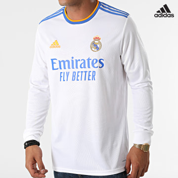 https://laboutiqueofficielle-res.cloudinary.com/image/upload/v1627638668/Desc/Watermark/adidas_performance.svg Adidas Performance - Tee Shirt De Sport Manches Longues Real Madrid  GR3989 Blanc