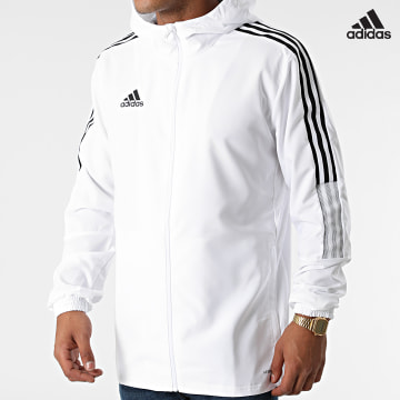https://laboutiqueofficielle-res.cloudinary.com/image/upload/v1627638668/Desc/Watermark/adidas_performance.svg Adidas Performance - Veste Zippée A Bandes GP4966 Blanc