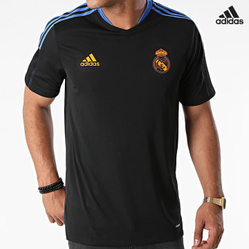https://laboutiqueofficielle-res.cloudinary.com/image/upload/v1627638668/Desc/Watermark/adidas_performance.svg Adidas Performance - Tee Shirt A Bandes Real GR4323 Noir