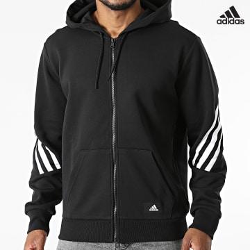 https://laboutiqueofficielle-res.cloudinary.com/image/upload/v1627638668/Desc/Watermark/adidas_performance.svg Adidas Performance - Sweat Zippé Capuche A Bandes Future Icons 3 Stripes GR4086 Noir